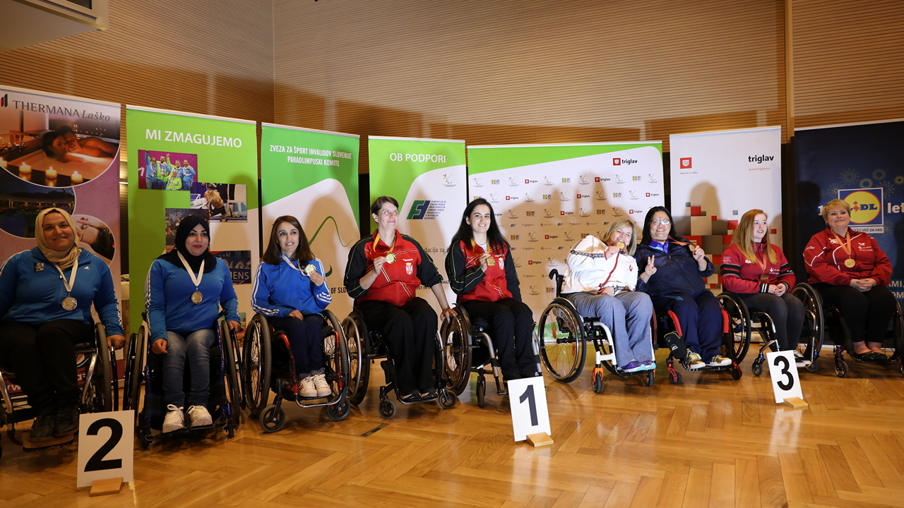 10/5/2017 4th Slovenian Open medal ceremony Bronze Medal at Women\'s Teams class 4-5